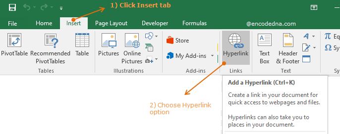 Insert hyperlink in Excel