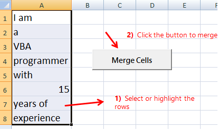 Highlight cells to Merge Cells using VBA