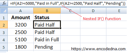 How to use Nested IF() Function in Excel
