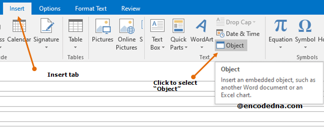 Object option inside Insert tab in Ms-Outlook