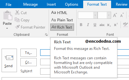 Select Rich Text format in Outlook