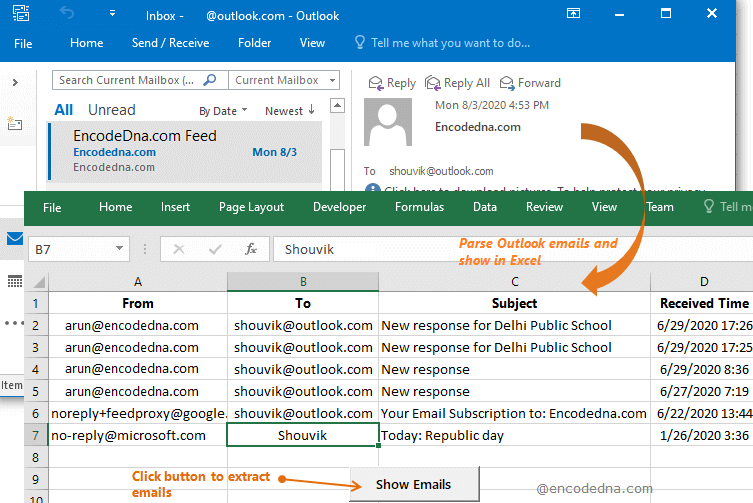 Parse or Extract Outlook Emails and Show Excel using VBA
