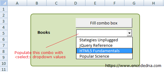 Populate a ComboxBox in Excel with Select DropDownList value using VBA