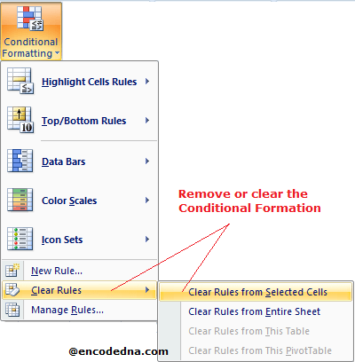 Remove Conditional Formatting in Excel