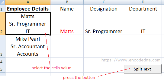 Split Text using VBA Macro