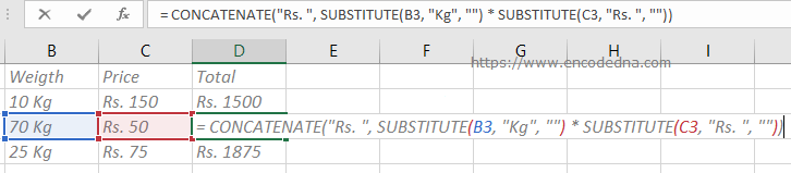 Using CONCATENATE() and SUBSTITUTE() function together in Formula