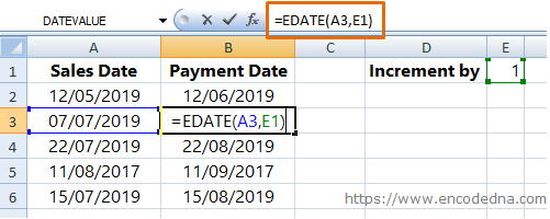 Using EDate Method in Excel to Increment Month