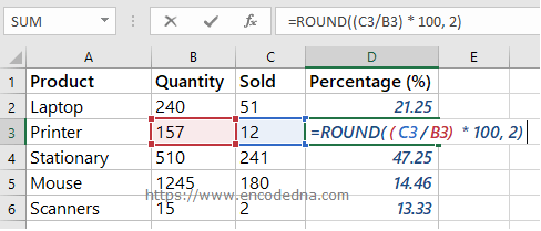 Using the ROUND() function in Excel