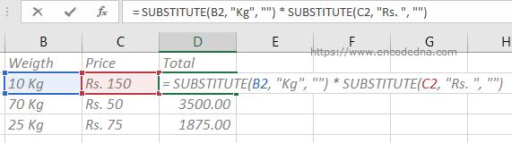 Using SUBSTITUTE() function calculate alphanumeric cells