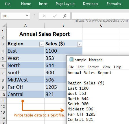Write data to a text file using VBA