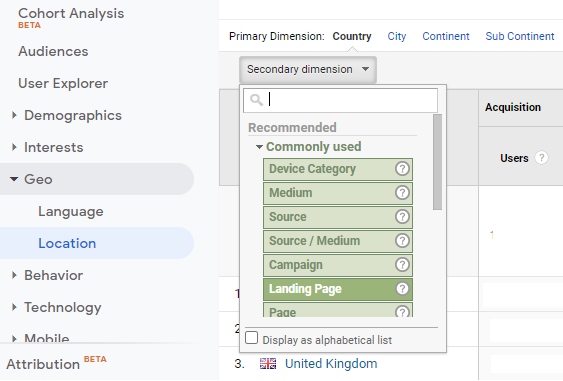 What is landing page in Google Analytics