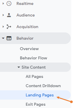 Landing pages report under site content in Google Analytics