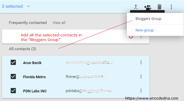 Add Gmail Contacts in a Group