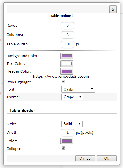 Html Table Generator With Css