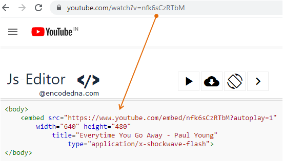 Embed YouTube Video in HTML with out iFrame