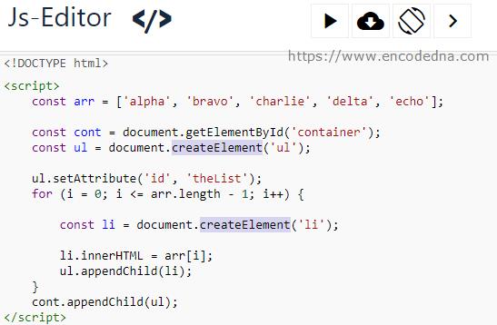 Create Dynamic ul and li element using JavaScript