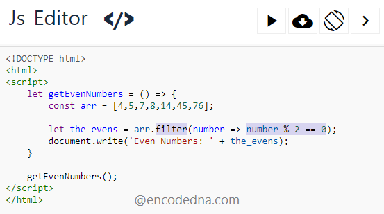 Find even numbers in an array using JavaScript .filter() method