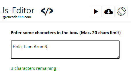 Limit character input in textarea element using JavaScript