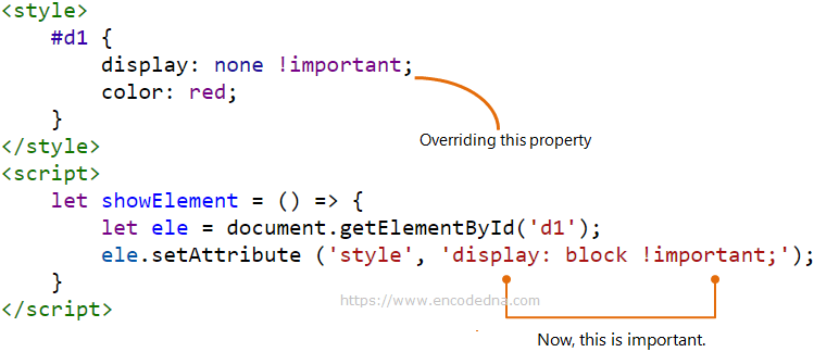 Overriding !important style property using JavaScript