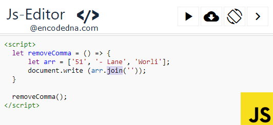 Remove Commas from Array in JavaScript