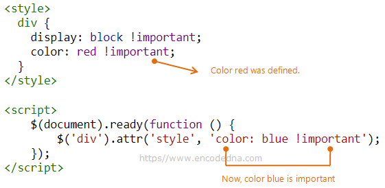 Add !important style to element using jQuery