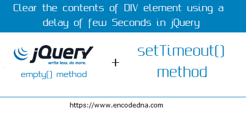 Clear the Contents of DIV using empty method and setTimeout