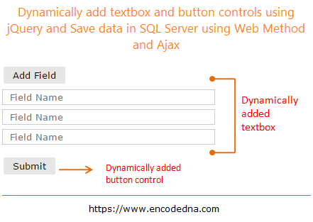 Dynamically Add Textboxes and Button using jQuery and Save Data to Database using Asp.Net Web Method