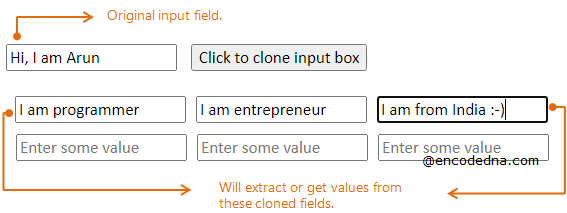 Get value from Cloned Input fields using jQuery