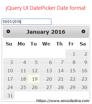 jQuery UI Datepicker Format Date – Change Date Format of