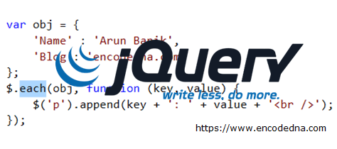 Loop through Elements, Arrays and Objects using jQuery  each() Function