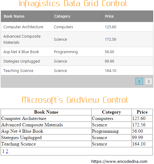 Infragistics Asp.Net Data Grid Control