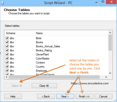 Generate scripts for all tables in SQL Server