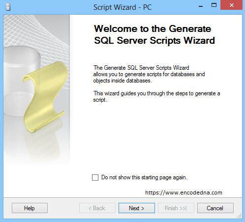 Generate Scripts Wizard in SQL Server