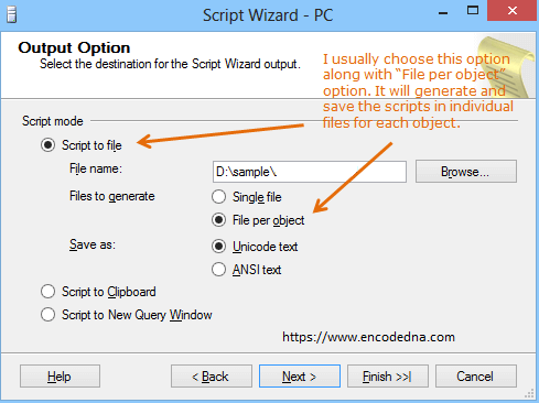 Save generated scripts in files in SQL Server
