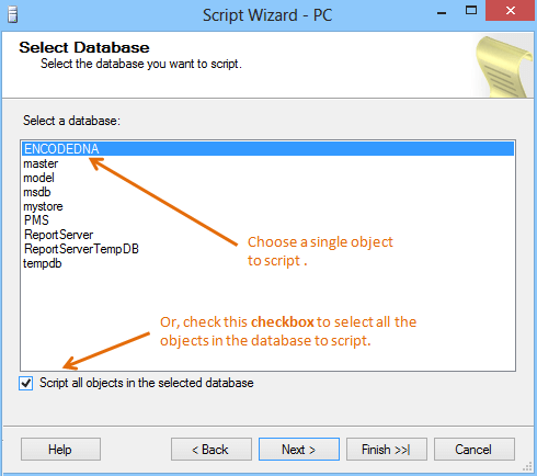 Select database to generate script