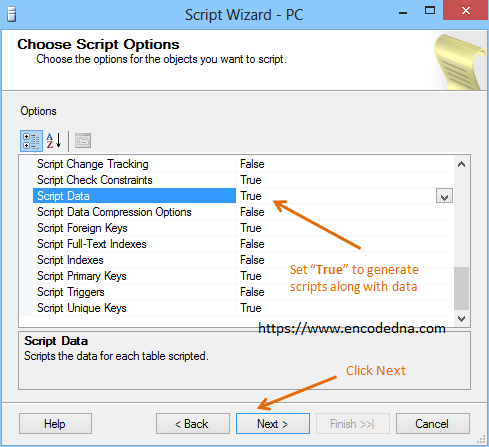 Generate scripts with data in SQL Server