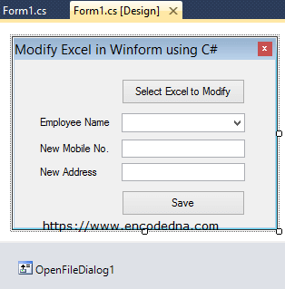 Using WinForm to Select and Modify Excel Data